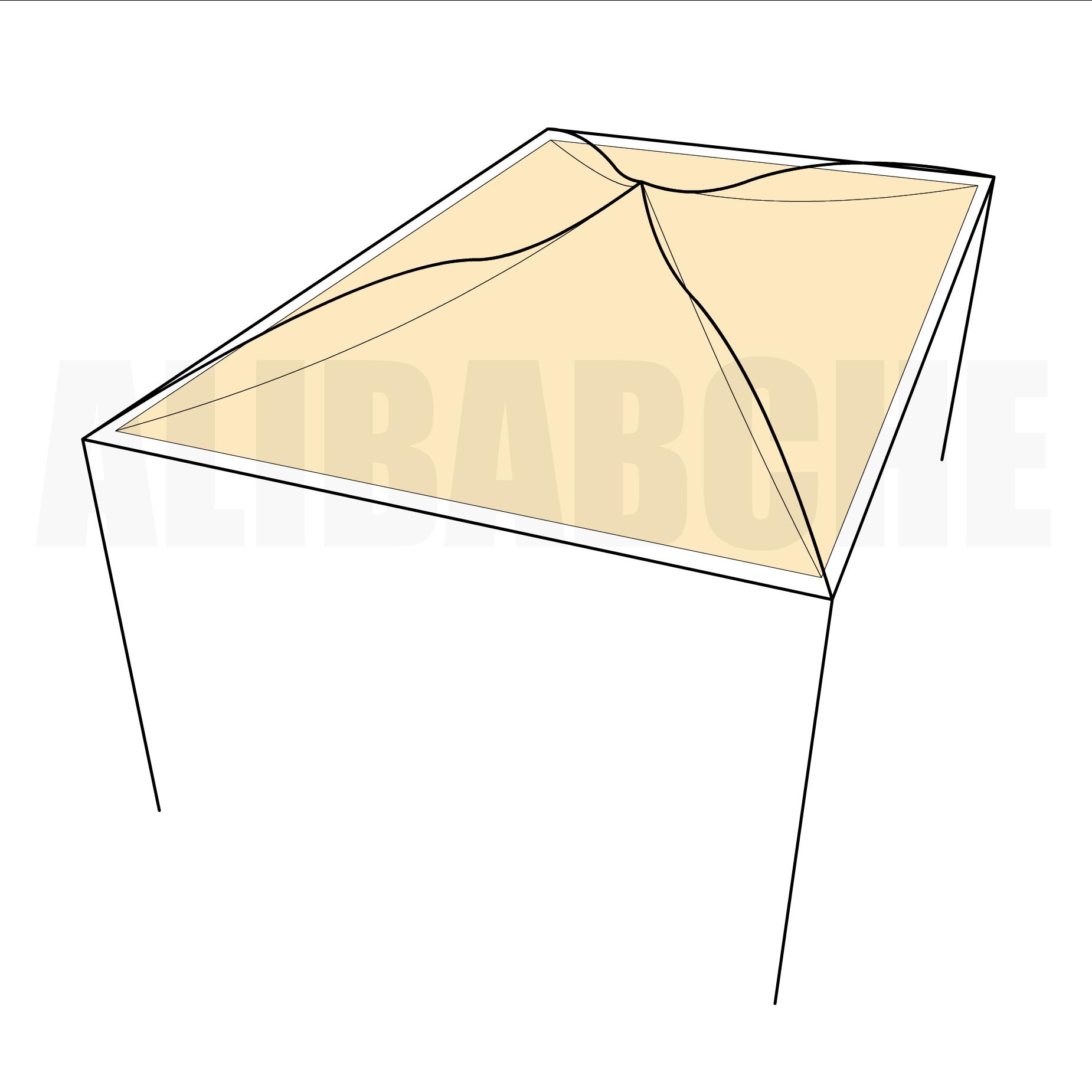 Bâche tonnelle rectangle 4 pentes suspendue en Protect cover 705 670gr/m², toile PVC Etanche Beige - 5.8x3m
