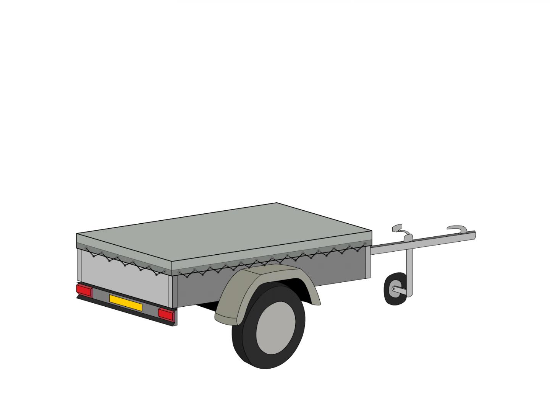 Bâche pour remorque bagagère Basse droite en Protect cover 705 670gr/m², toile PVC Etanche Gris clair